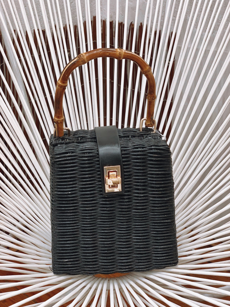 Petite Wooden Black Bag with long strap