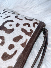 Halo Leopard Leather Clutch