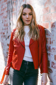 Red Leather Biker Jacket, Brooke, 100% Genuine Leather, Lambskin, Hot Red Leather Jacket
