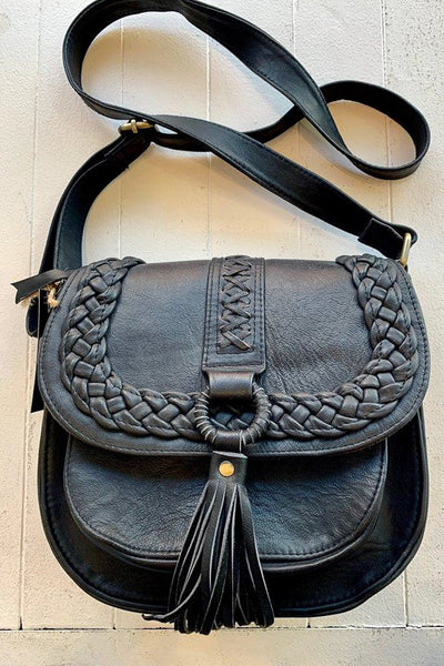 Layla Black Leather Shoulder Bag
