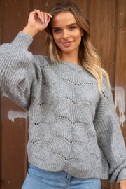 Emma Oversize Grey Knit Sweater