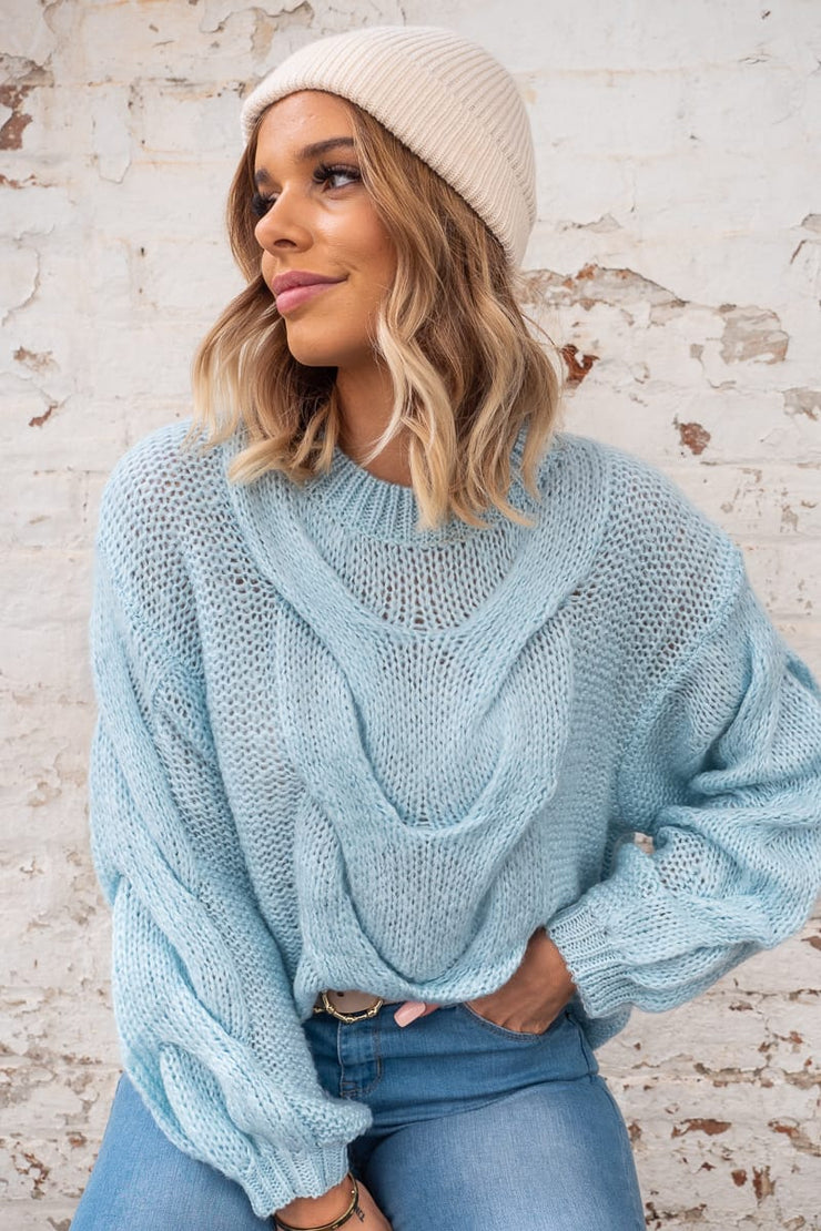 Stella Blue Cable Knit Jumper
