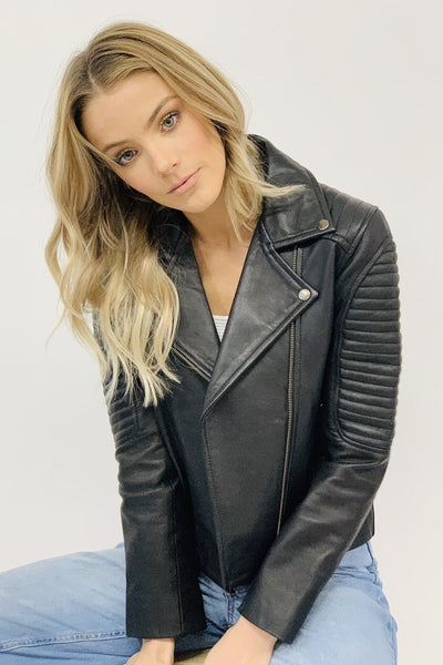 Ava | Quilted Lamb Skin Leather Jacket Without Belt