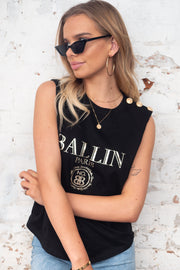 Claudia | Black Tank Top with Print