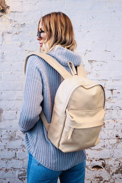 Dakota |  Lambskin Leather Beige BackPack