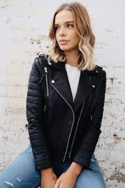 Mila | Lambskin Leather Biker Jacket