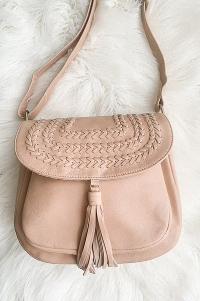 Halo Tan Leather Bag With Front Detail