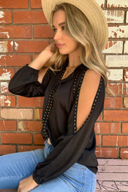 Evie | Studded Top with Sleeve Slit in Black