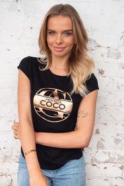 Coco | Black Tee with Gold Print