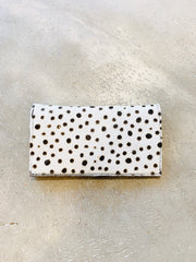 Chocolate and white Cowhide Spot Fur  leather purse