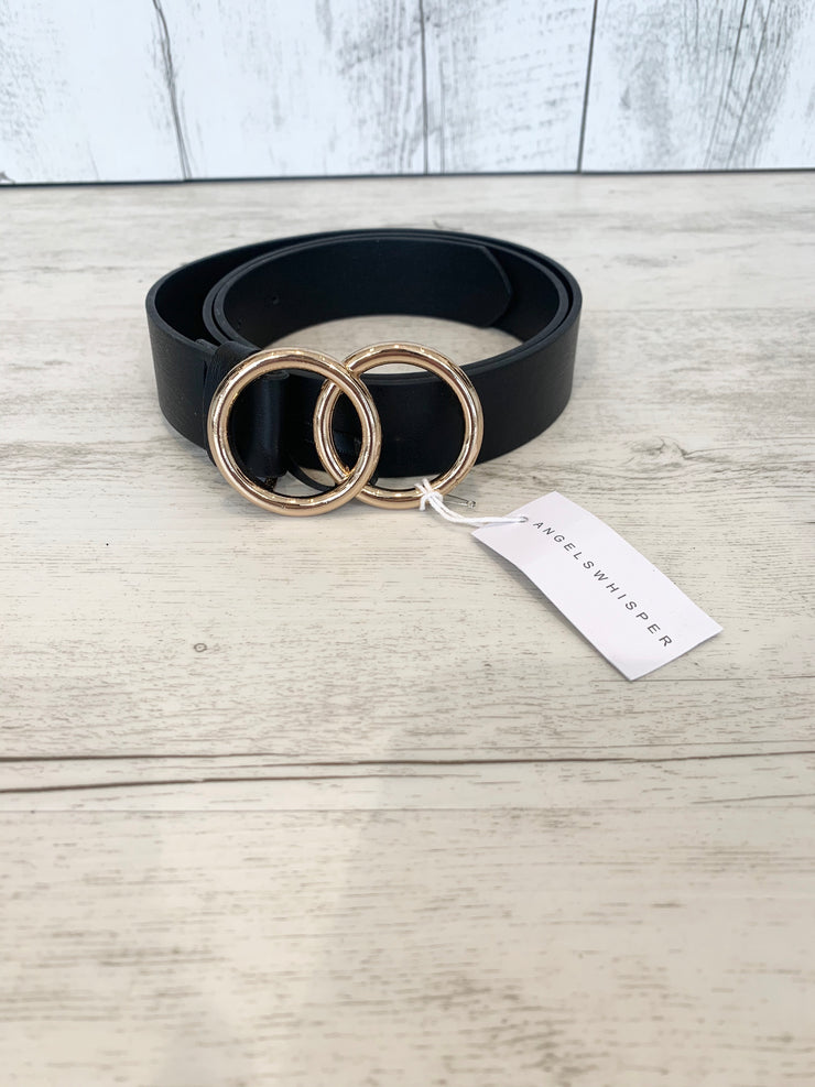 Gold Double Ring Belt In Black medium size