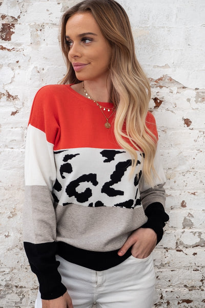 Tyler | Animal Print Knit with Tones of Red, Grey and White