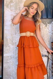 Jasmine | Dress With Frill Detail In Burnt Orange