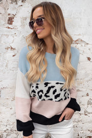 Tyler | Animal Print Knit with Tones of Blue, Pink and White