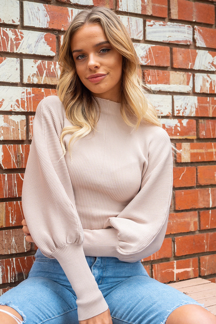 Milla | Balloon Sleeve Knit in Blush