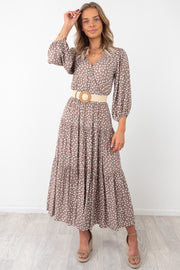 Lulu | Animal Spot Maxi Dress in Mocha