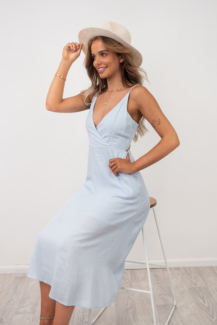 Angie Pale Blue Maxi Dress With Tie Back Detail