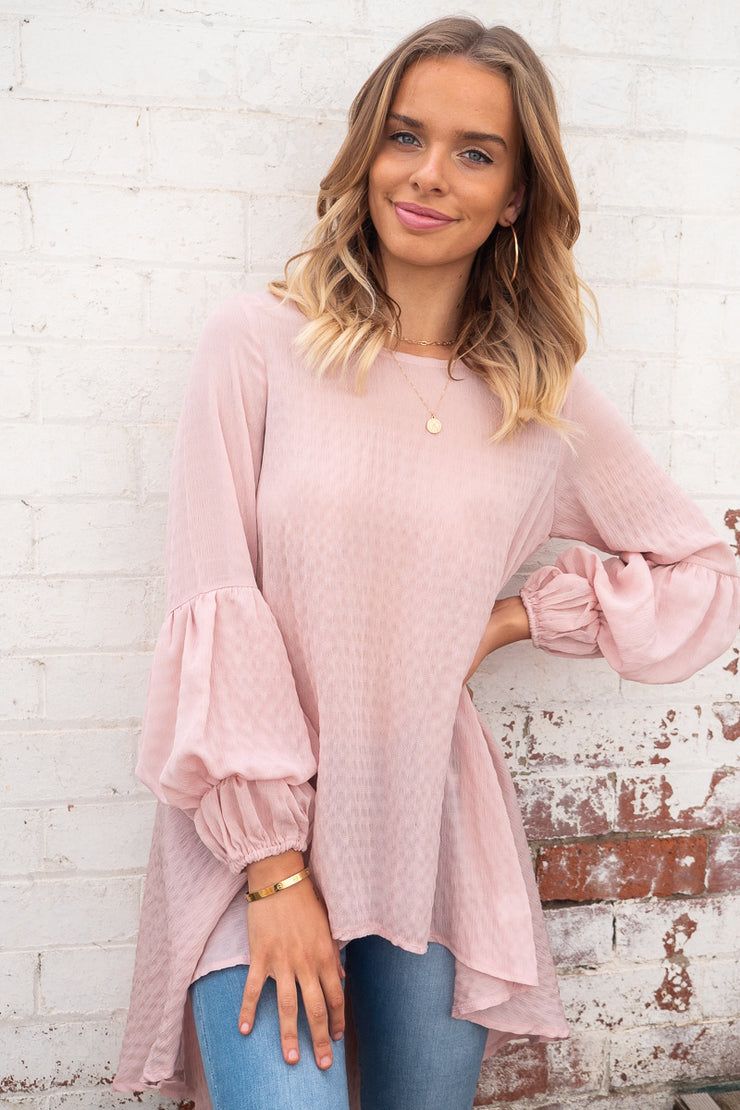 Bridgette | Asymmetric Hem Top in Blush