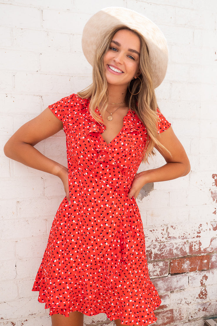 Natasha Dress With Front Ruffle In Red Print