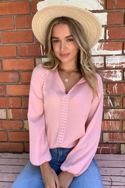 Evie | Studded Top in Blush