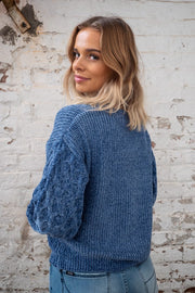 Nicki Jumper in Blue Chenille  with sleeve detail