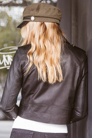 Brooke Crop Lambskin Leather Jacket With Silver Hardware