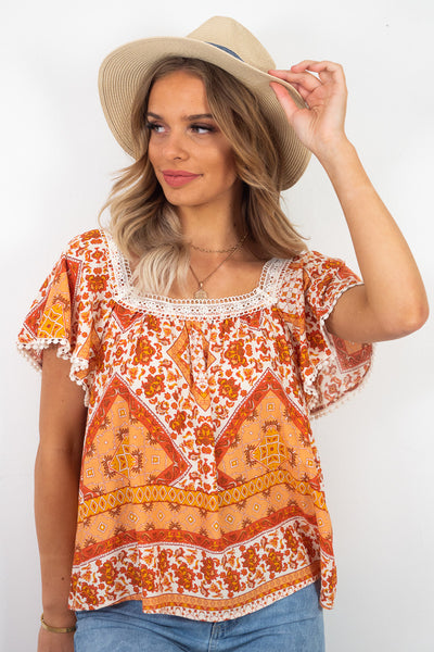 Luna | Boho Short Sleeve Top In Orange And White