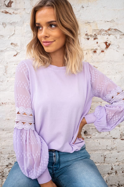 Molli | Detailed Sleeve Knit in Lilac