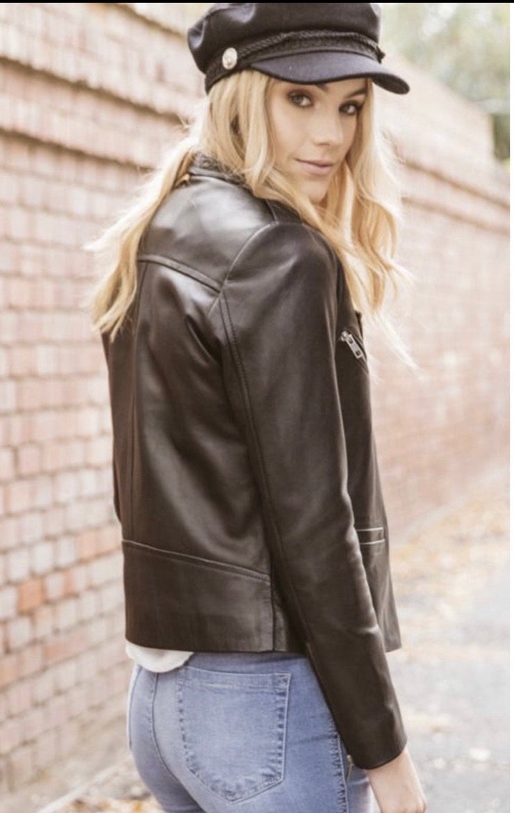 Elly | Black Leather Lambskin Jacket Without Belt