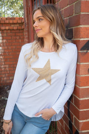 Kyra | White Asymmetric Hem Top with Gold Sequin Star