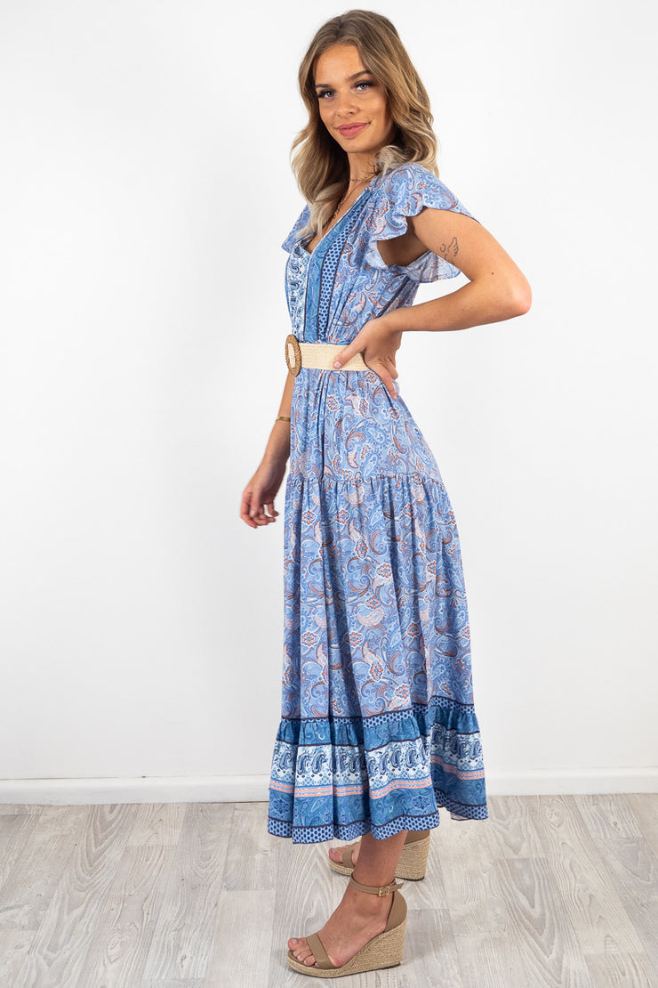 Scarlette | Maxi Dress In Blue Print