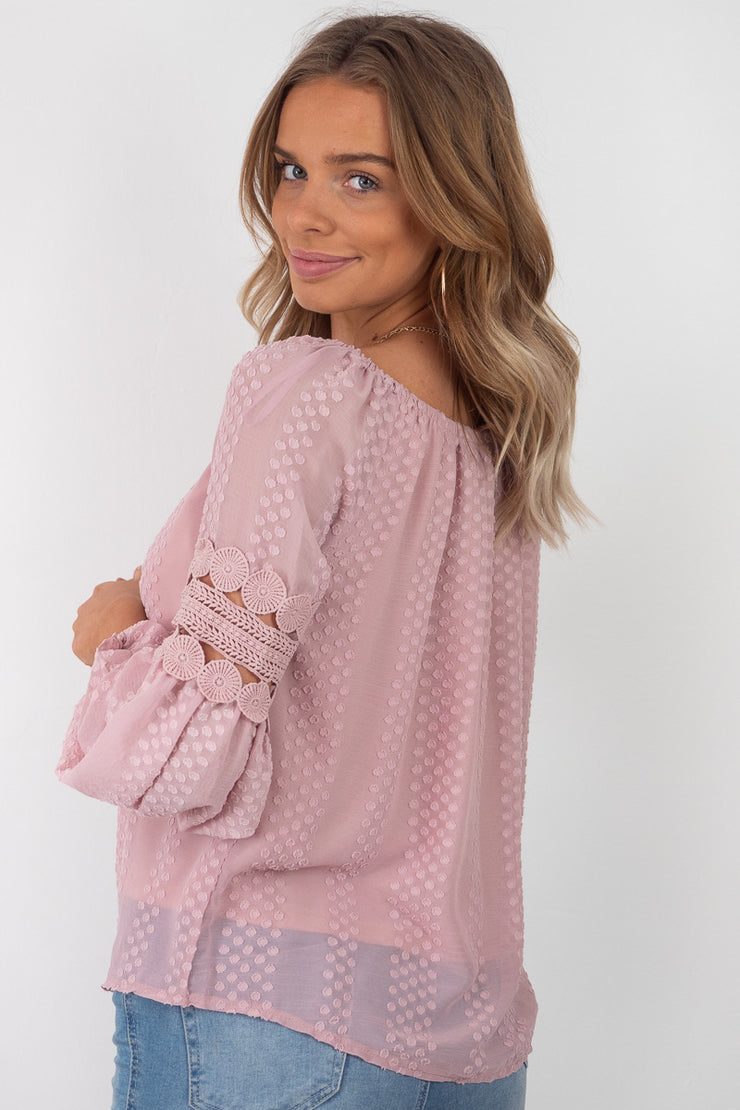 Leah | Detailed Off The Shoulder Top in Blush