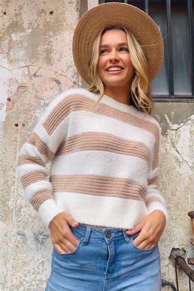 Florence | Fluffy Stripe Knit In Beige and Cream