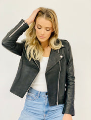 Rider Black Leather Jacket with silver hardware