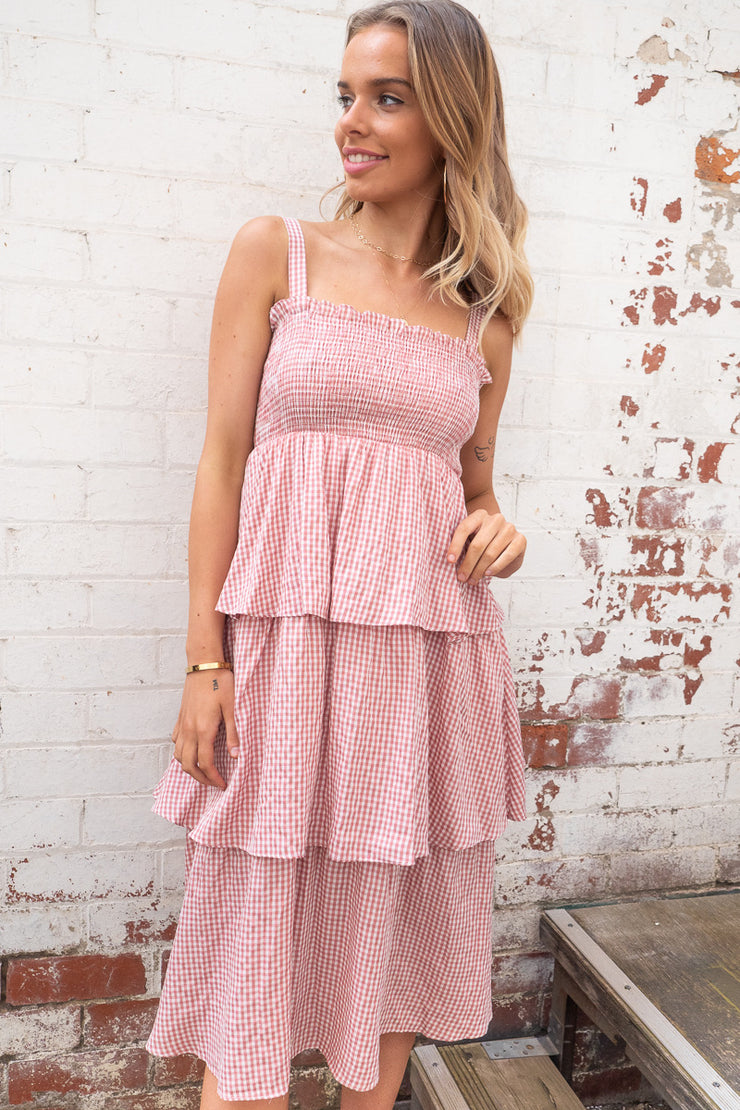 Elise | Frill Midi Dress in Pink