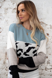 Tyler | Animal Print Knit with Tones of Black, Grey and Blue