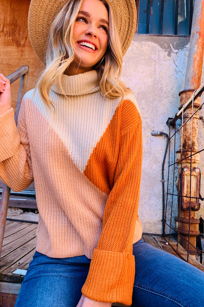 Eden | High Neck Knit in Orange / Peach And Natural