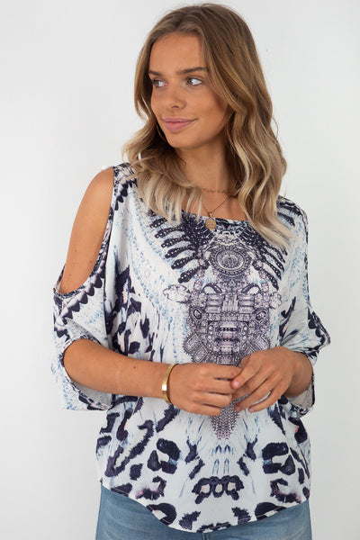 Alexie | Grey / Blue Oversized Cut Out Sleeve Top with Animal Print and Diamontes