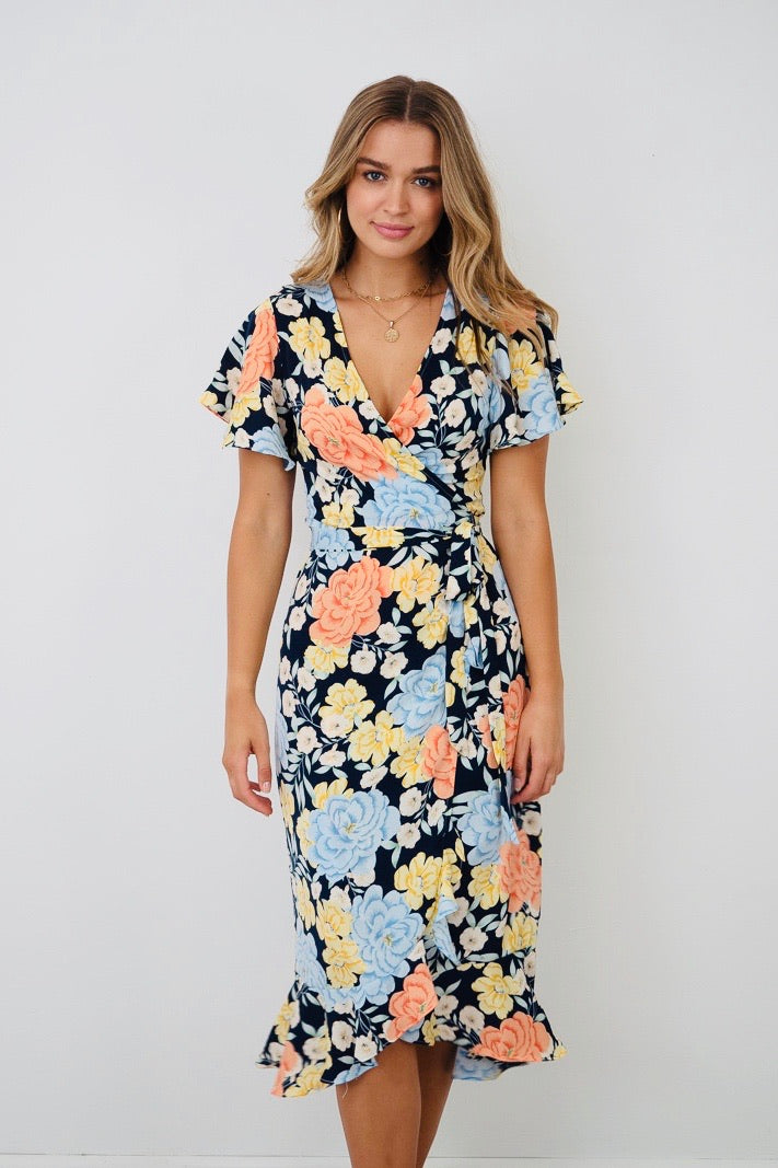 Willow | Multi Colour Floral Wrap Dress With Sleeve