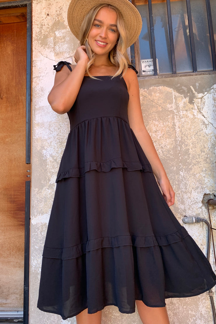 Jasmine | Dress With Frill Detail In Black