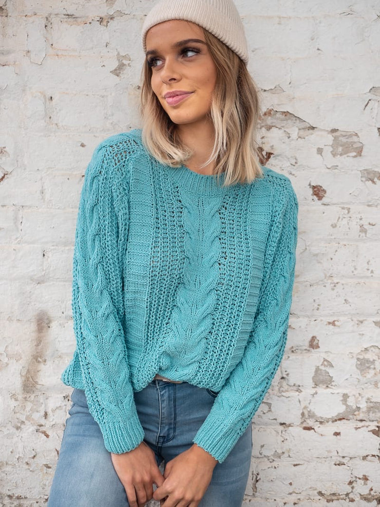 Chloe Cable Knit in Turquoise