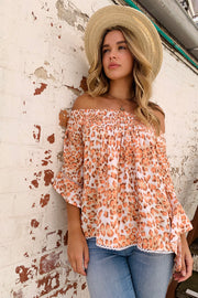 Pia Top In Peach Leopard Print