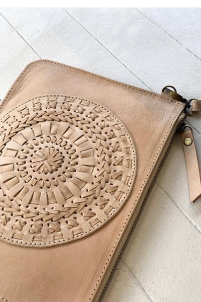Halo Leather Detailed Clutch
