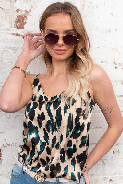 Sara | Leopard Cami In Jade , Black And Cream