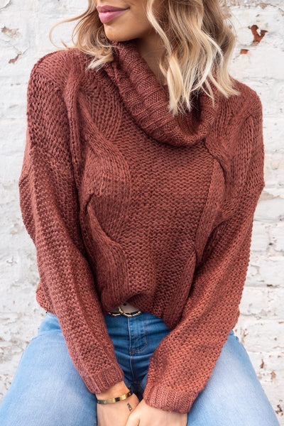 Jasmine Roll Neck Rust Jumper