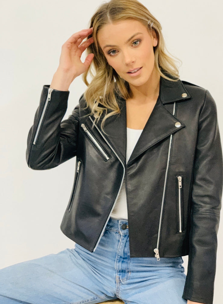 Rider | Black Leather Jacket - Extra Zip in Silver