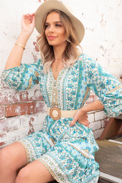 Emma | Boho Mini Dress in Teal