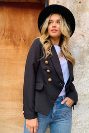Lulu | Blazer In Black With Gold Buttons