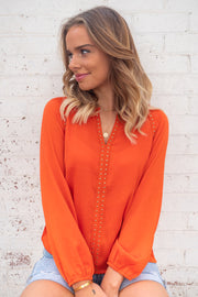 Evie | Studded Top in Orange