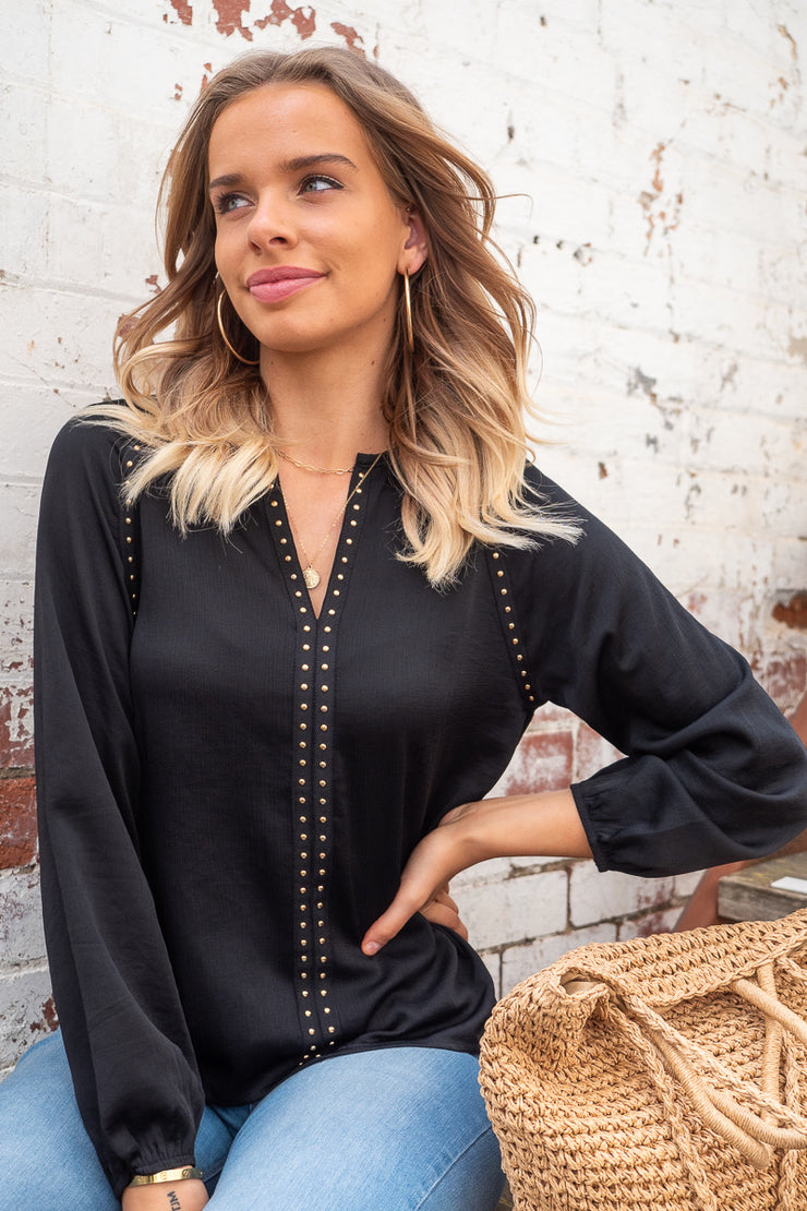 Evie | Studded Top In Black